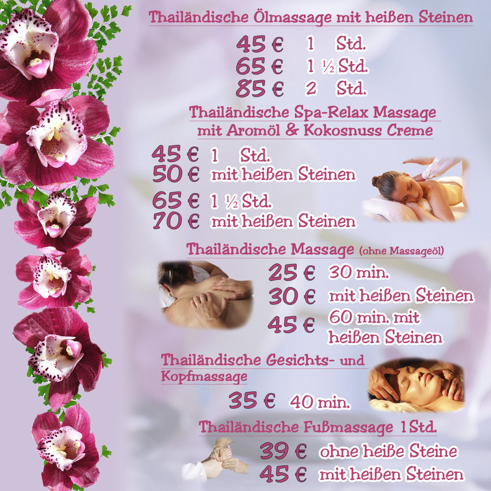 Tara Thai Massage in Cottbus Thai-Massage Preisliste